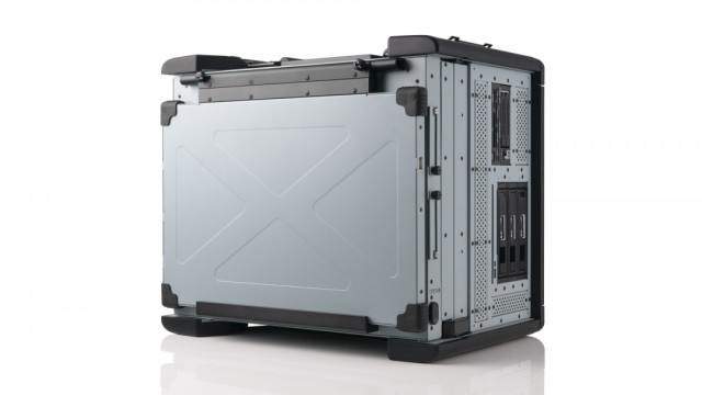 Transportable workstation with displays folded for stowage thumbnail